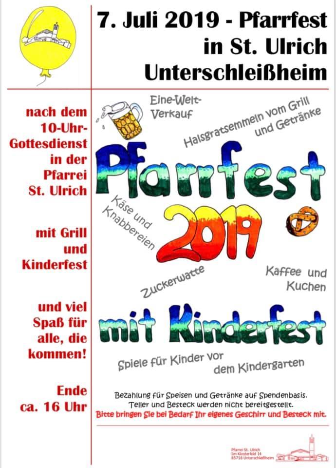 Plakat Pfarrfest 07.07.19