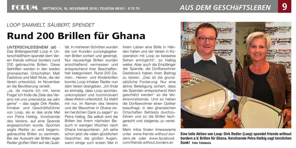 Forum 2016 11 16 Brillen für Ghana