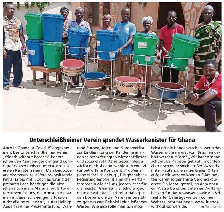 MM 2020 05 05 Unterschleißheimer Verein spendet Wasserkanister für Ghana